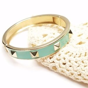 Jewelry - Seafoam Green Gold Tone Studded Clamper Bracelet